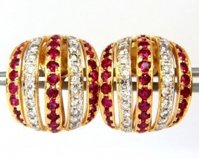 4.50ct Natural Red Ruby Diamond Earrings 14kt Bead Set