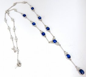 8.94ct Natural Blue Sapphire Diamond Cluster Necklace