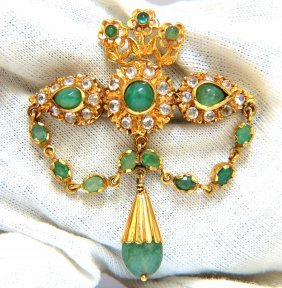 18kt Vintage Natural Emeralds & White Sapphires