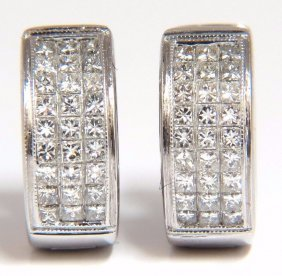 Huggie Earrings 1.50ct Natural Diamonds Invisible Set