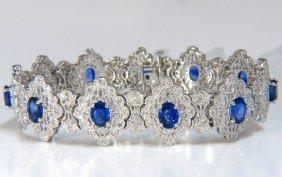 12.35ct Natural Vivid Blue Sapphire Diamonds Bracelet