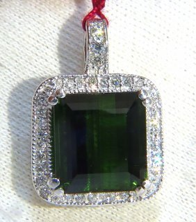 14.17ct Gia Vivid Lush Forest Green Tourmaline Diamonds