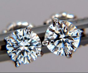 1.44ct Natural Round Brilliant Diamond Stud Earrings
