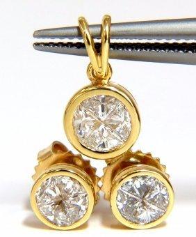 Matching Earrings & Pendant 18kt 1.50ct. Trilliant