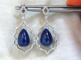 28.90ct Natural Sapphire Diamonds Dangle Earrings 14kt