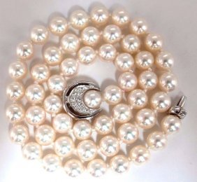 Gia Certified 53 Natural Akoya Pearls Necklace Saltwate