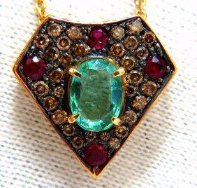 2.81ct Natural Oval Emerald Fancy Diamonds Ruby Shield