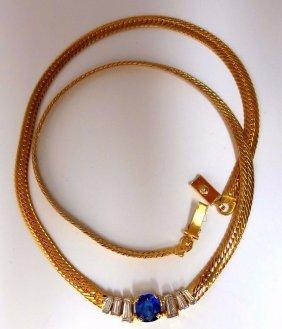 2.30ct Natural Sapphire Diamonds Necklace Herring Bone