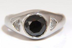 2.22ct Natural Jet Black Round Diamond Mens Ring 14kt