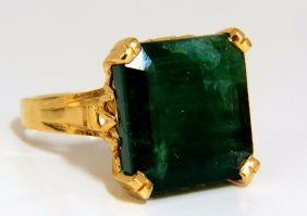 14.50ct Natural Emerald Victorian Solitaire Ring.