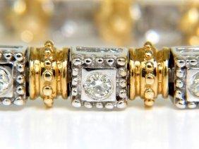 2.50ct Diamonds Byzantine Box Bead Bezel Bracelet 14kt
