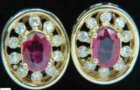 1.95ct Natural Ruby Diamond Earrings Cluster 14kt Omega