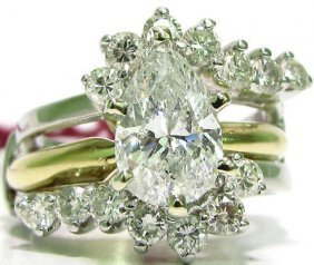 2.12ct. Pear Shape Diamond Ring + Insert 14kt
