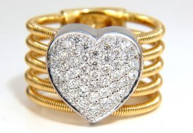 .55ct Diamonds Bead Set Pave Heart Coil Wrap Fused