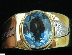 2.00ct Natural Aquamarine Diamond Ring Solitaire Deco