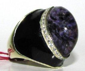 Natural 20.75ct Purple Jade Diamond Ring Modern