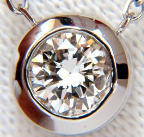 .65ct Diamond Modern Solitaire Bezel Necklace 14kt