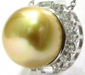 13mm Golden South Sea Pearl Diamond Necklace