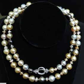 33 Inch Natural South Sea Pearls Diamond Necklace