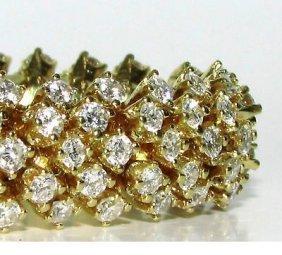 18kt 10.00ct Diamonds Dome Cluster Line Bracelet