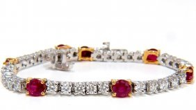 7.00ct Natural Vivid Red Ruby & Diamonds Tennis