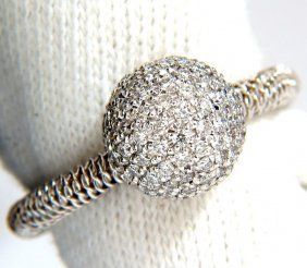 .76ct Diamonds Bead Set Ball Ring 18kt + Coil Wire Wrap