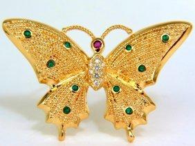 .80ct Natural Emerald Diamonds 3d Butterfly Pin 14kt