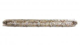 14kt Antique Edwardian 2.8 Inch .30ct Diamonds Brooch