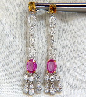 5.67ct Natural Bright Pink Sapphires Diamonds Dangle