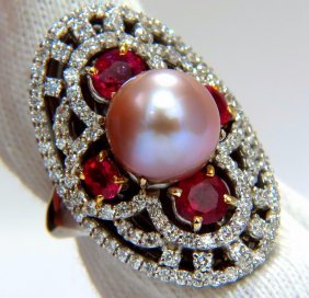 South Sea Pink Natural 10mm Pearl 4.90ct Diamonds Ruby