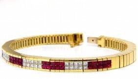 Herring Bone Bracelet 18kt 3.50ct. Natural Ruby Diamond