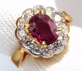 Gia Certified 1.61ct Oval Cut Purple Red Ruby 1.01ct
