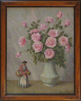 William Speer Still Life Of Roses With Porcelain