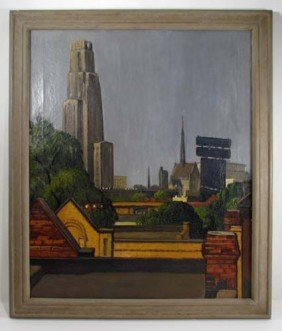 Lee F. McQuaide Painting Of Pitt And Oakland