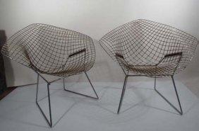 Pair Of Bertoia Diamond Lounge Chairs