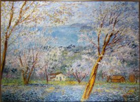 Michele Cascella Painting Flowering Landscape Ital