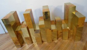 Paul Evans Cityscape Dining Table Wood And Brass V