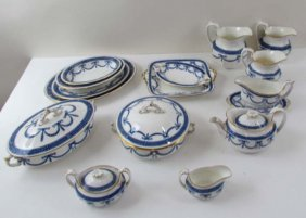 A Large Set Of  Blue & Gild-Edged Antique Wedgwood