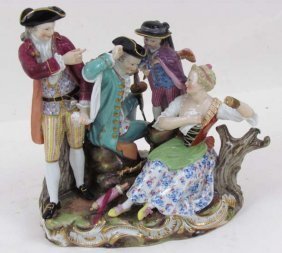 Meissen Figural Group, The Competing Suitors