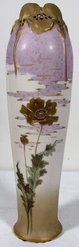 Teplitz Bohemian Amphora With Gilded Floral Decora