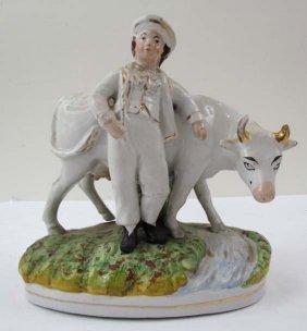 """Staffordshire Glazed Ceramic """"Boy With His Prized"""