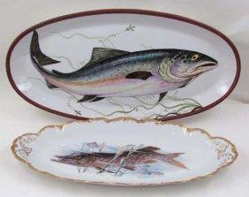 2 Hand Painted Porcelain Large Fish Platters & 8 L