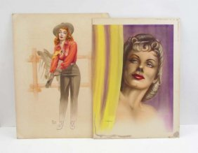 2 Russell Hill Pastels Cowgirl And Portrait