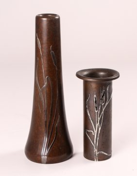 Pair Of Heintz Sterling On Bronze Vases