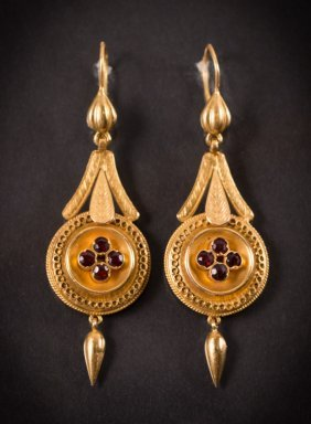 Victorian Style Gold And Garnet Earrings