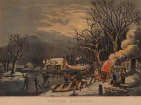 2 Currier And Ives, Winter Morning And Evening