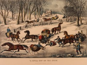 """Currier And Ives Large Plate """"""""a Spill Out"""" On The Snow"""