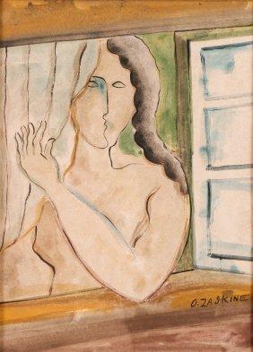 Attrib. Ossip Zadkine Watercolor Woman At Window