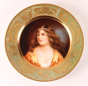 "Hand Painted Portrait Plate ""fantaisie"""
