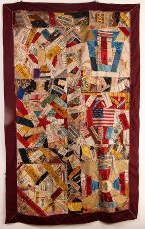 19th C. Crazy Quilt With Gar, Civil War Prisoner,